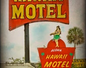 Vintage Grunge Style Hawaii Motel Retro Neon Sign Street Art - Fine Art Photograph Print Picture
