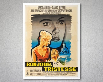 Bonjour Tristesse, Vintage Movie Poster, Deborah Kerr, David Niven, Jean Seberg - Poster Paper, Sticker or Canvas Print