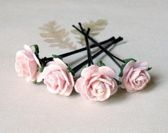 Pale pink rose hair pins. Wedding hair pin. Bridesmaid hair pin. Hair accessories. Bridal accessories. Girl hair pin. Bun hair pins. MF#02