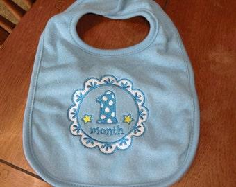 Embroidered Baby Bib - 1 Month Medallion Bib - Boy - Blue Bib