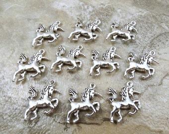 10 Pewter Unicorn Charms - 1039