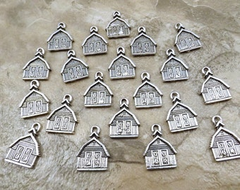 Set of 20 Pewter BARN Charms  - 0792