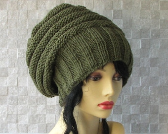 MADE TO ORDER Khaki Tam hat for dreadlocks  Green Dreads Hat Hand Knit Dread Slouchy Beanie Knitted Hat -  Slouchy Beanie  Oversized hat