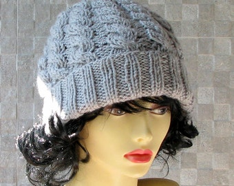 Light Grey knit hat, Knit slouchy hat, Chunky Knit hat, Knit gray hat, Chunky slouch beanie, Chunky Knit beanie, Slouchy winter hat