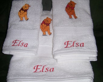 Winnie the Pooh 3 Piece Embroidered Bath Towel Set - Personalized