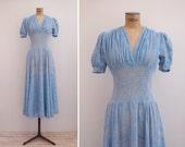 1940s Dress - Vintage 40s Blue Lace Dress - Femme Céleste Dress