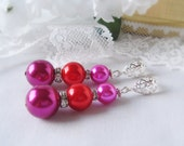 Free Shipping, End of Season Sale, Big and Bold Tri-Colored Earrings in Hot Pink, Red and Wine with Silver Plated Bead Filigreed Stud Posts