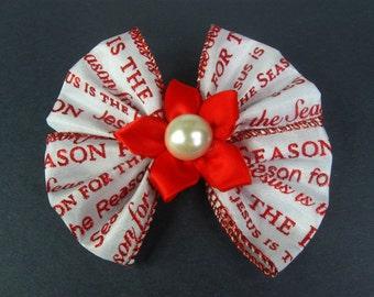 Christmas Hair Bow, Religious Hair Bow, Red Christmas Hairbow, Church Bow, Holiday Hair Bow, Red and White Bow