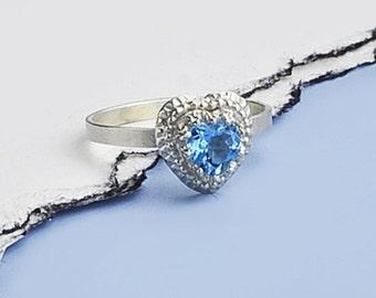 Silver Topaz Heart Ring, Topaz Heart Ring, Sterling Silver and Blue Topaz Ring, Blue Topaz Ring, Heart Blue Topaz, Handmade Heart Topaz Ring