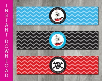 Instant Download Pirate Party Water Bottle Labels - Diy Printable, Pirate Birthday, Party Printable, Digital Pdf File