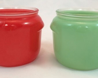 Mid Century Glasbake Bowls - Honey Whip Spread Containers with Lids