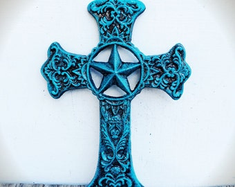 BOLD turquoise aqua blue & bronze texas star ornate victorian cross wall art // cast iron // rustic country shabby chic // religious