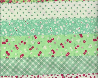 Floral Stripe in Green (Col C) from the 30's Collection by Atsuko Matsuyama for Yuwa of Japan