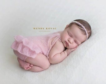 Newborn baby girl hand knitted Ruffled Romper Overall and pearl tieback/ Luxury yarn Photography Prop/ Mohair Romper