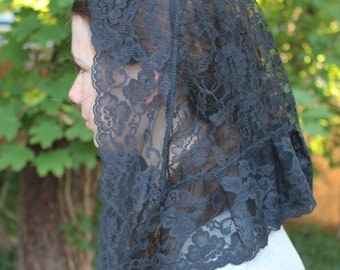 Chapel Veil / Black Lace Veil / Mantilla / Catholic Headcovering / Veil For Holy Mass. The Elise Small.