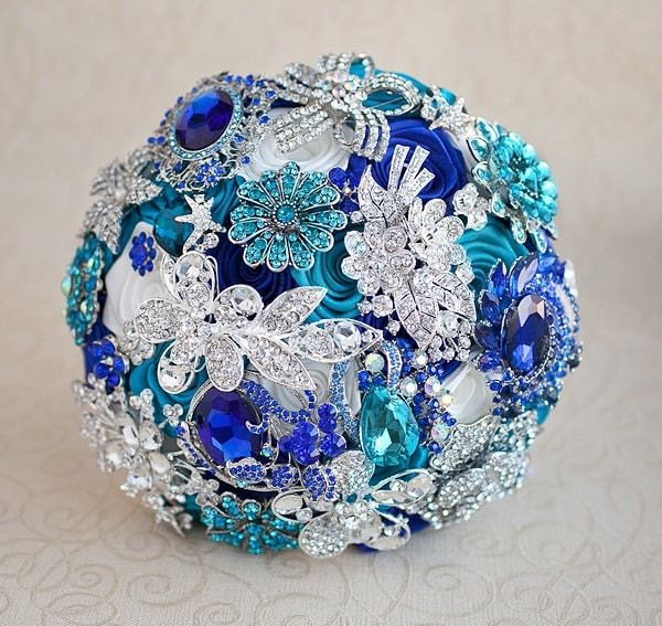Royal Blue And Silver Wedding Flowers: Brooch Bouquet. Teal Royal Blue White And Silver Wedding