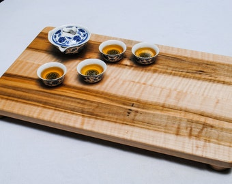 Maple Cutting Board,Curly Ambrosia Maple Tray, Serving board, bread board, tea tray, cheese tray, fine dining, gourmet kitchen gift