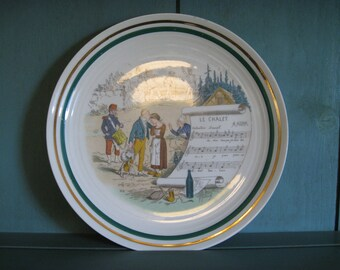 Pillivuyt Sujets PV French Musical Opera Plate, Le Chalet