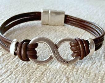 Mens infinity bracelet, infinity leather bracelet, infinity bracelet, leather bracelet, leather bracelet gifts, bracelet homme