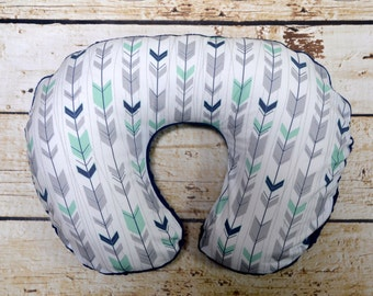 Boy nursing pillow,Nursing Pillow cover, nursing pillow, navy nursing pillow, arrow nursing pillow, mint, navy, gray, feather,