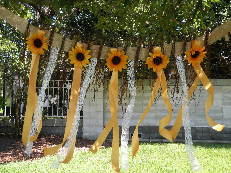 sunflower twig burlap flower wall hanging garland rustic. Black Bedroom Furniture Sets. Home Design Ideas
