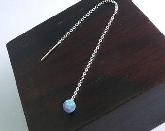 Opal Long Thread Earring,2 or 3 piercing earring,925 Chain Earrings,Bridesmaid Earring,Dangle & Drop earrings,Bridal Earring.( 1 pc. only)