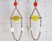 RESERVED Yellow Jade Carnelian and Moonstone Earrings Copper Chain Dangle Natural Gemstone