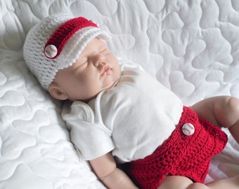 BABY BOY BASEBALL Crocheted Hat & Diaper Cover, Red White Cap, Boys Beanie, Baseball Button, Newborn Photography Prop, Shower Gift, Sports,