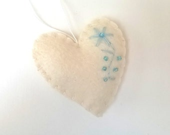 Heart ornament - felt ornaments - Valentine's day/Birthday/Christmas/Baby/It's a Boy/Housewarming home decor