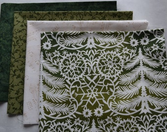 Christmas Fabric Bundle / 4 Fat Quarters/Christmas Trees/Music Notes/Quilting and Crafts/Green and Cream/Cotton Holiday Sewing Material/