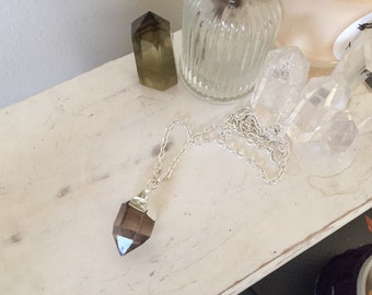 Smokey quartz pendant - silver plated