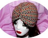 Vintage Look Hearts Pattern Stretch Cotton Turban