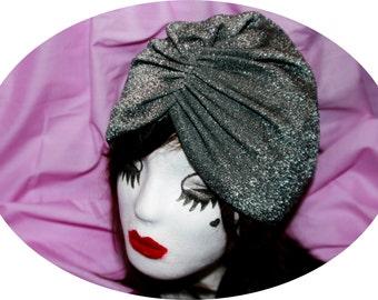 Silver Glitter Turban Hat