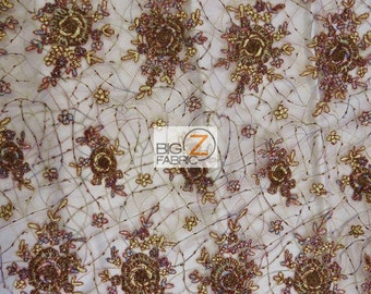 """Exotic Floral Hand Beaded Lace Fabric - BROWN - 52""""/54"""" Width Sold By The Yard"""