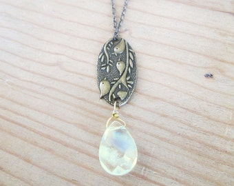Bird necklace, antique brass bird necklace, yellow crystal faceted stone with bird necklace, antique brass bird pendant jewelry gift for her