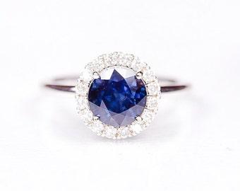 14K White Sapphire and Diamond ring