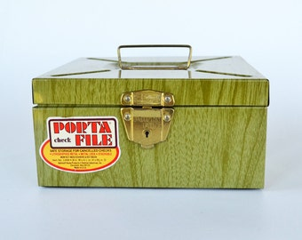 Metal Porta File Metal Box with Key | Storage Box | Retro Office | Industrial | Wood Grain Pattern