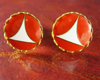 Artisan orange Cuff links Modernist abstract volcano color Cuff links ship sail  Vintage space age  earthy design Men's Women's