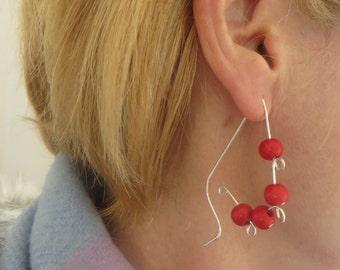 Large Red Beaded Hoop Earrings, Sterling Silver, Swirl, Looped