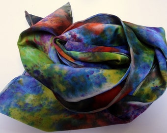 Silk scarf wrap shawl accessory Hand painted. Multi-colored luxurious designer made in the Hudson Valley. One of a kind multi colored