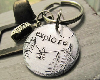Camping Keychain Camper Key Ring Hand Stamped Keychain Camper Gift Camper Keys Gift for Him Gift For Her Mountains Key Ring Pine Trees Sun