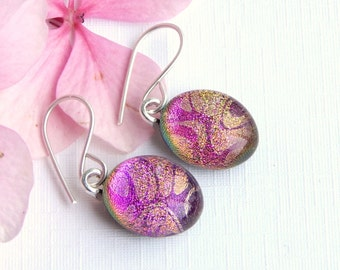 Soft Pink and Gold Dichroic Glass Drop Earrings on 925 Sterling Silver Earwires - Fused Glass Jewelry - Rose Glass Dangle Earrings