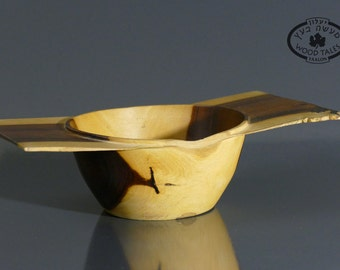 HARMONY Handmade Wooden Bowl From Indian Rosewood With Large Flat Lip
