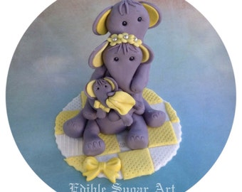 ELEPHANT BABY SHOWER Cake Topper Pink And Grey Yellow And GrayFondant Baby  Shower Cake Topper Safari
