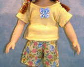 10 Inch Doll Clothes - Yellow Butterfly Shorts Set made by Jane Ellen to fit 10 inch dolls