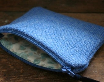 Harris Tweed zipped coin purse with floral lining