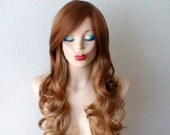 Honey blonde / Strawberry blonde Ombre wig. Golden Blonde long curly volume hair Long side bangs hairstyle wig
