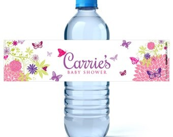 butterfly baby shower water bottle labels girl baby shower favors baby shower labels