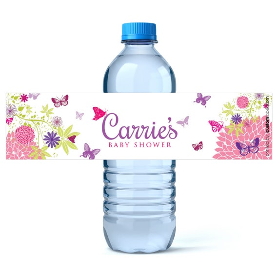 Butterfly Baby Shower Water Bottle Labels Girl Baby Shower Favors