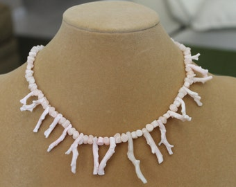 Coral Necklace, Pale Peach Necklace, Coral Chips, Frangia Coral Peach Color Chips, Sixteen and One Half Inch Branch Coral in Soft Pale Peach